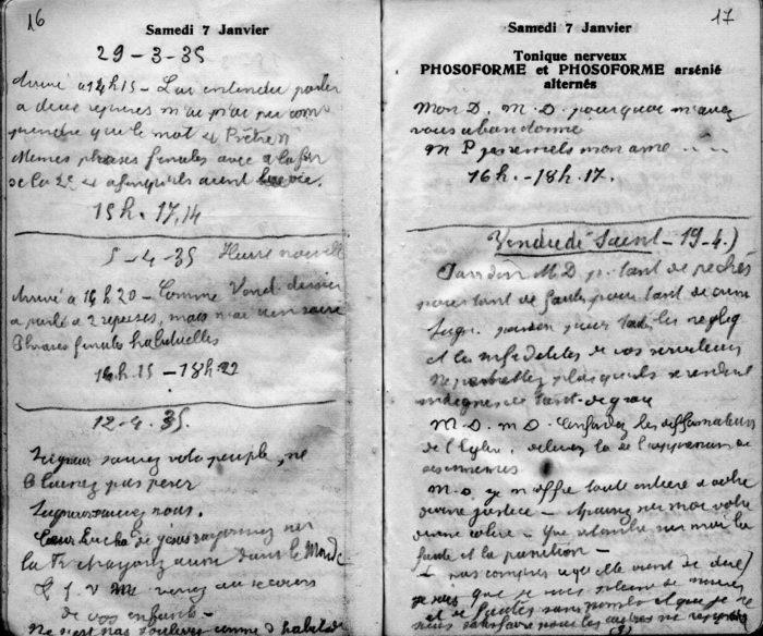 Les carnets du père Faure, sur lesquel il écrivait les récits de la Passion vécue par Marthe...