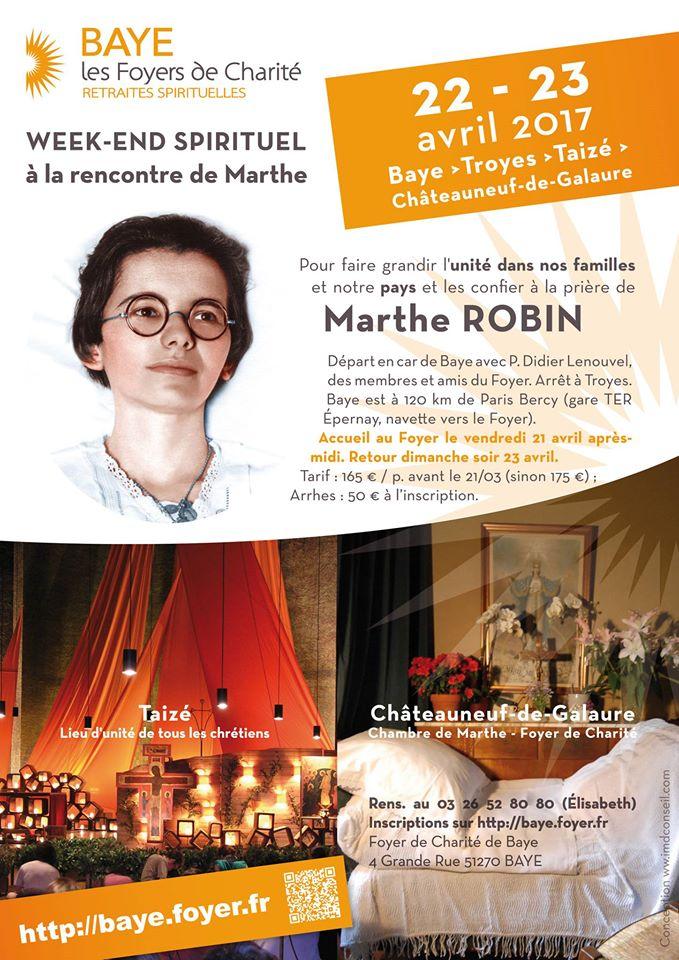 WE spirituel à la rencontre de Marthe Robin, de Baye à Châteauneuf-de-Galaure